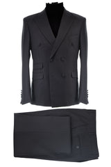 Dej Black Wool Blend Double Breasted Suit