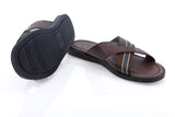 Dej Brown Leather and Grosgrain Cross Slippers
