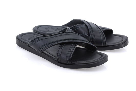 Dej Black Grosgrain Cross Slippers