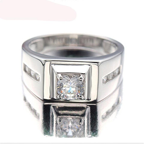 925 Sterling Silver Cubic  Zirconia Platinum plated Men's Wedding Ring