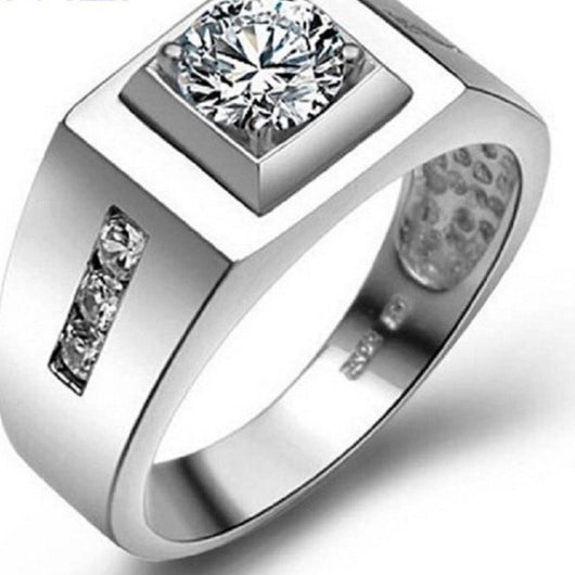Men's Big Silver Color Bijouterie Male Wedding Rings For Men Platinum Plated