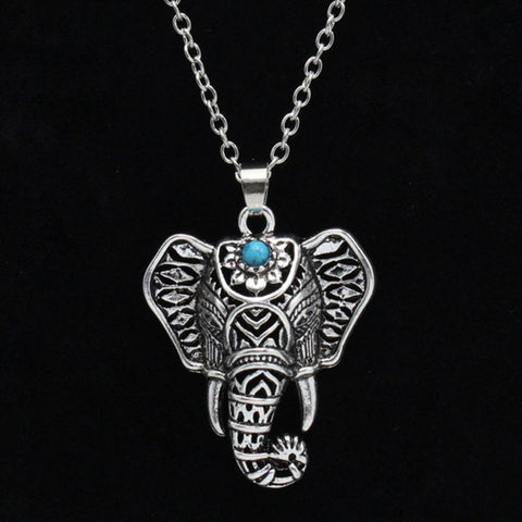 Necklace - Bohemian Turquoise Elephant Pendant Necklace