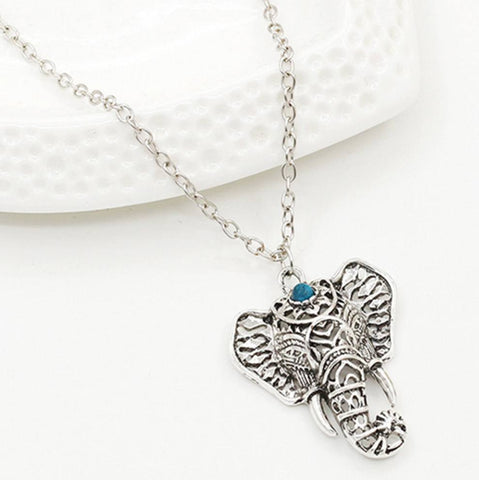 Image of Necklace - Bohemian Turquoise Elephant Pendant Necklace