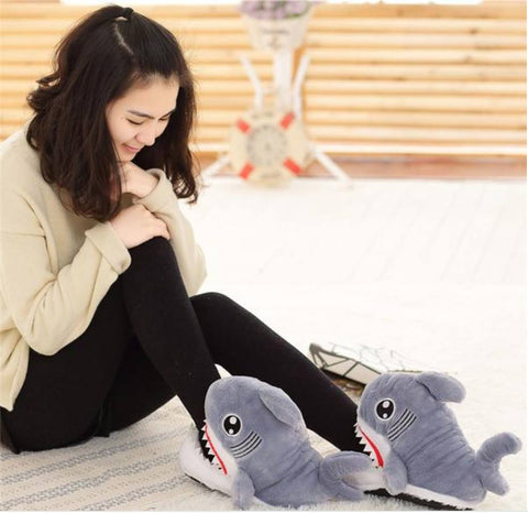 Image of Warm Winter Shark Slippers