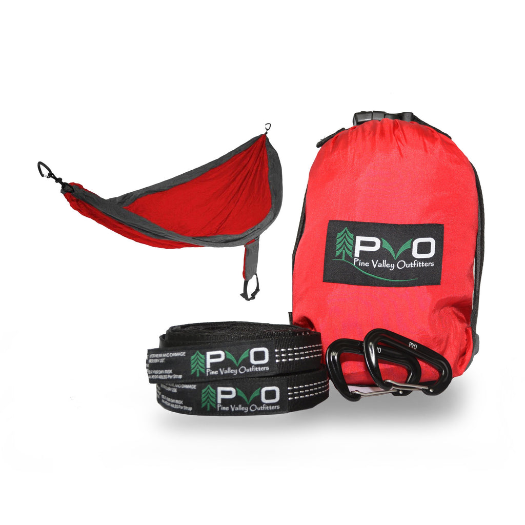 PVO Double Hammock with Heavy Duty Tree Straps and ...
