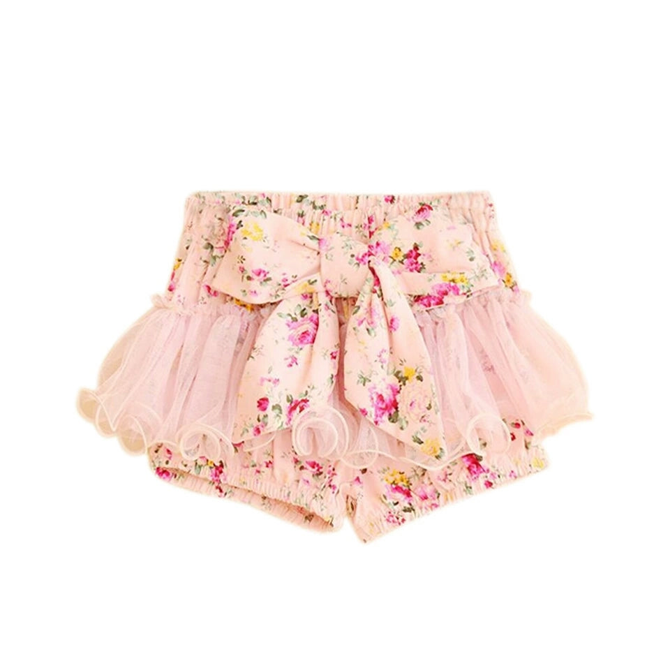 Bow Front Shorts with Chiffon Overlay - pink