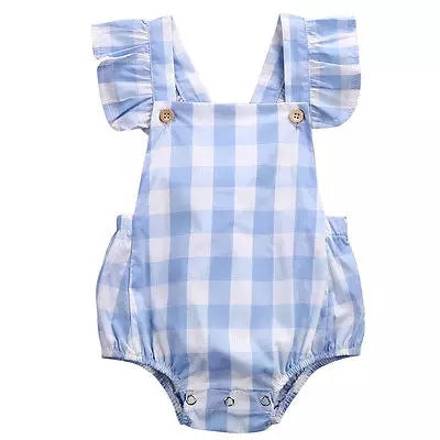 Baby Blue and White Check Romper