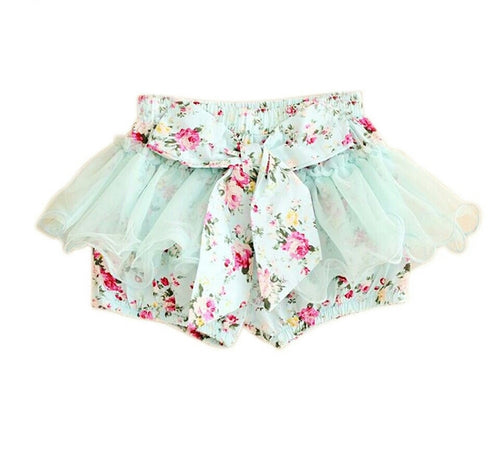 Bow Front Shorts with Chiffon Overlay - aqua