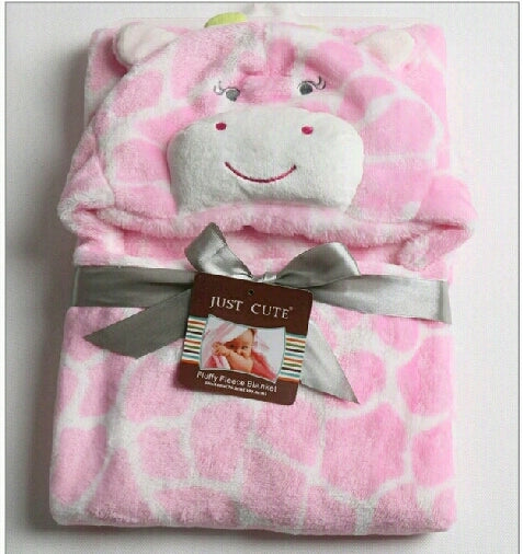 Hooded Snuggle Blanket - pink giraffe