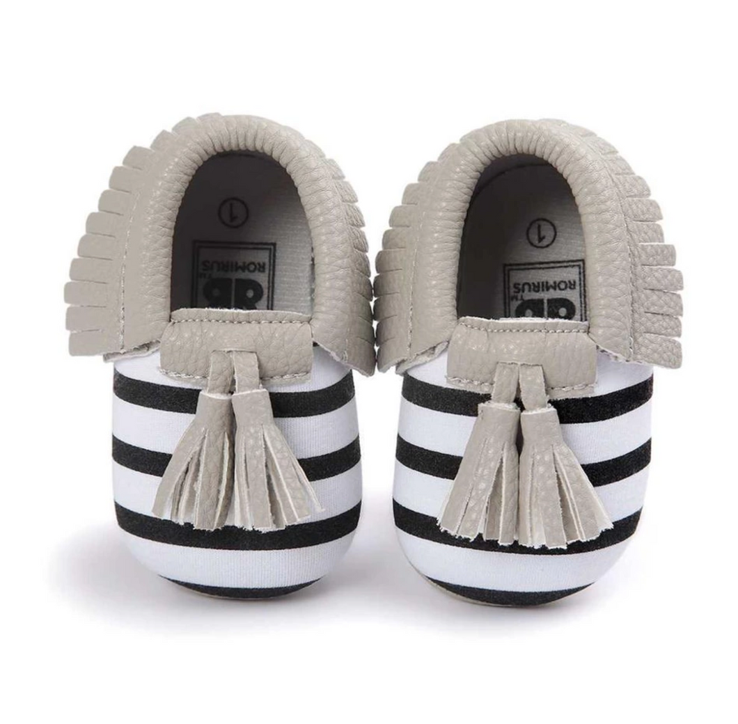 Moccasins - Black White Stripe Grey Trim
