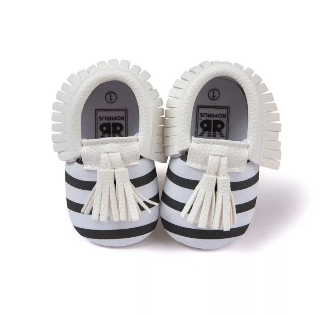 Moccasins Black White Stripe White Trim