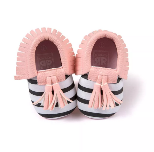 Moccasins Black White Stripe - Pink Trim