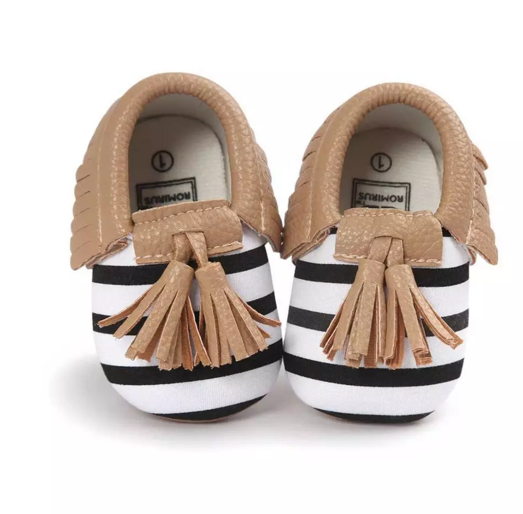 Moccasins Black White Stripe Brown Trim