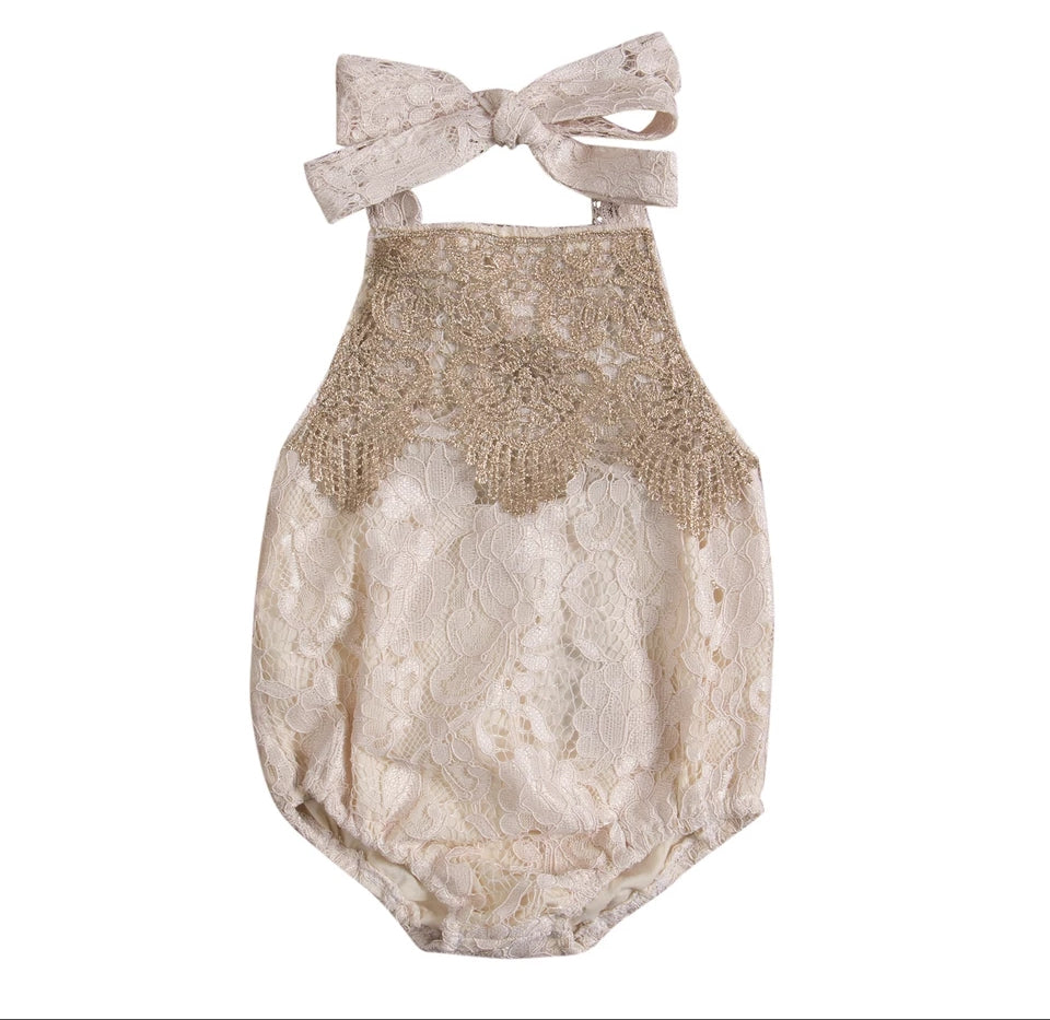 Gold Lace Romper