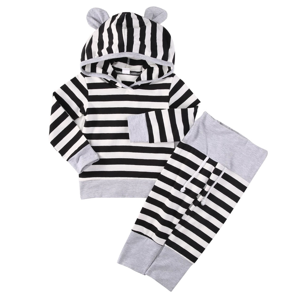 Bear Ears Hoody and Pants Set - black/white