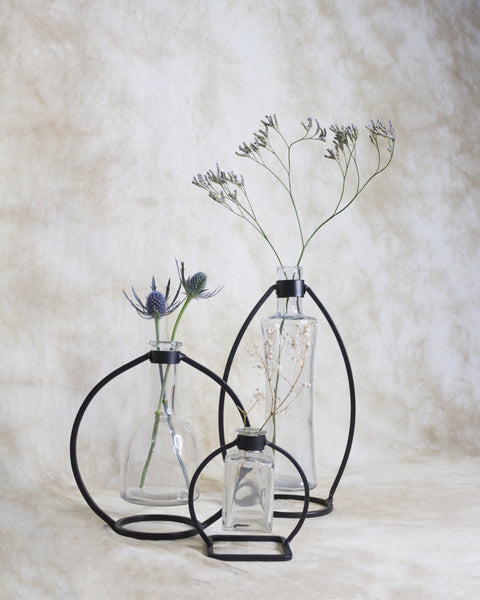Clear bud vase with black frame