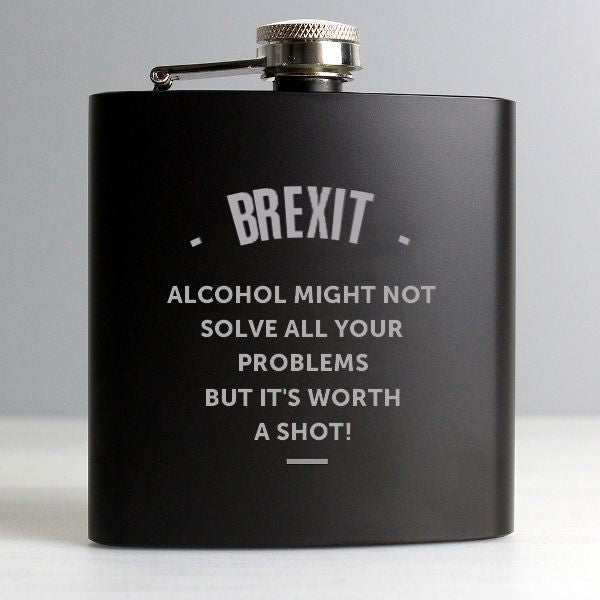 Personalised Brexit Message Hip Flask - Personalised Gift From Personally Presented