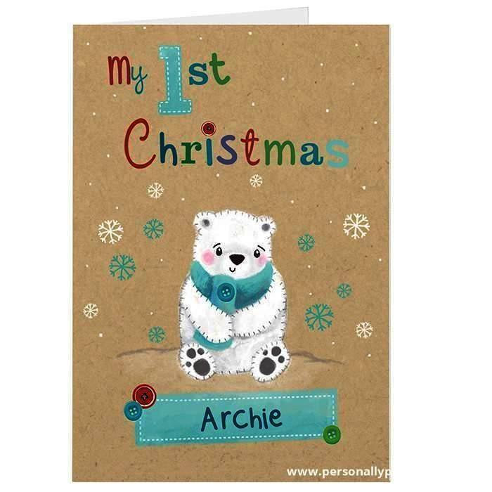 Personalised Polar Bear My 1st Christmas Card - Personalised Gift From Personally Presented
