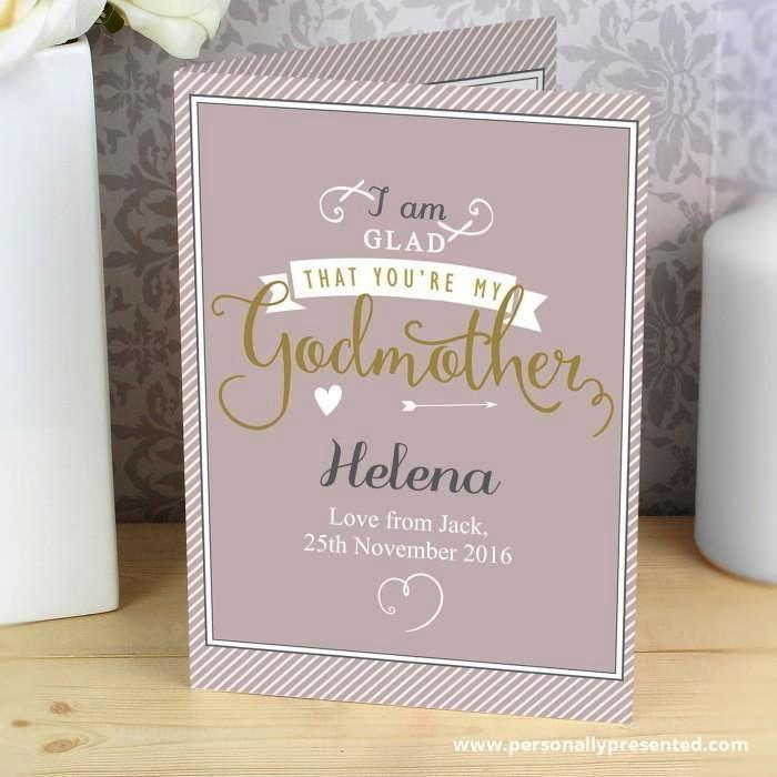 Personalised I Am Glad... Godmother Card - Personalised Gift From Personally Presented