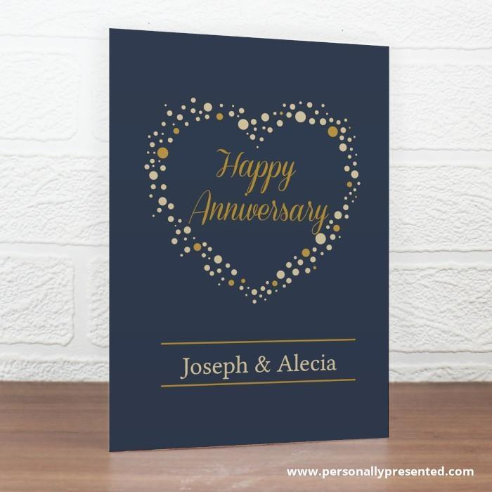 Personalised Gold Confetti Heart Card - Personalised Gift From Personally Presented