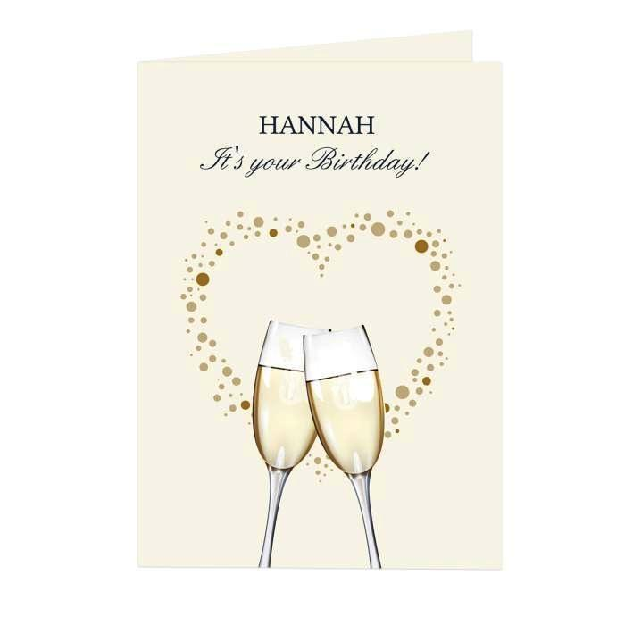 Personalised Gold Champagne Flutes Card - Personalised Gift From Personally Presented