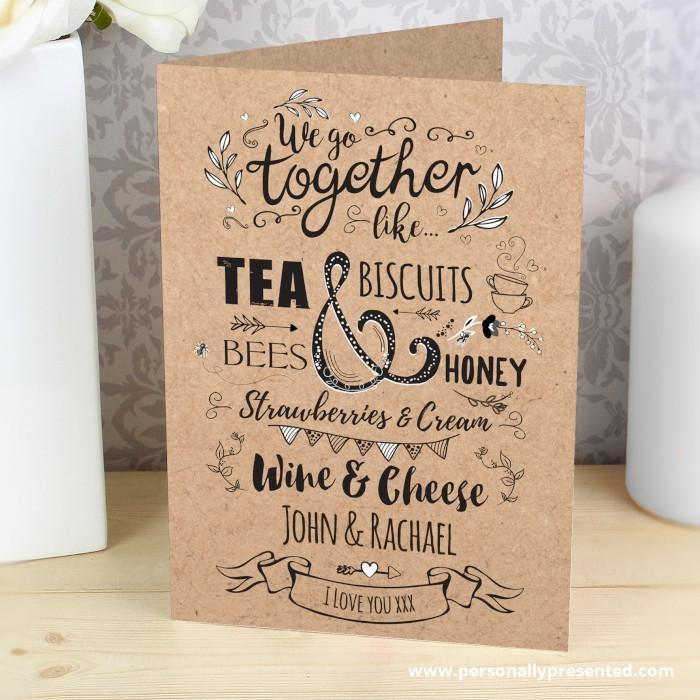 Personalised We Go Together Like... Card - Personalised Gift From Personally Presented