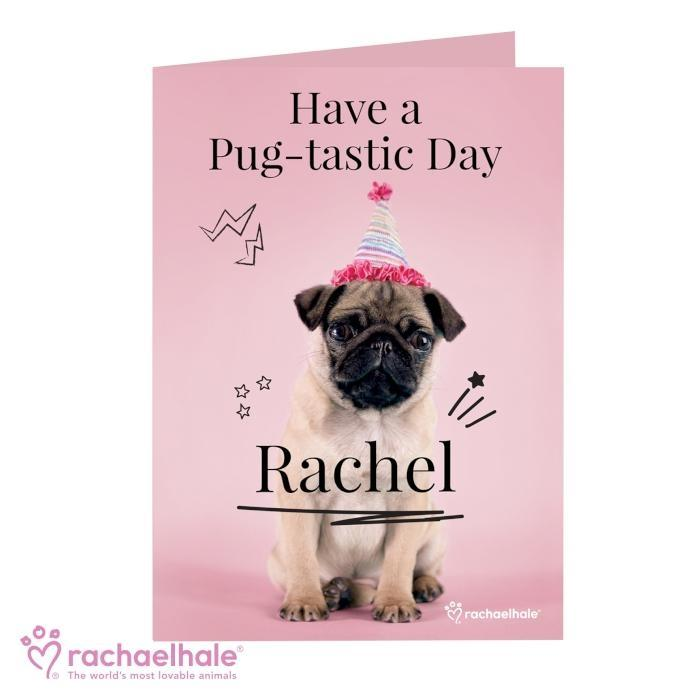 Personalised Rachael Hale Doodle Pug Card - Personalised Gift From Personally Presented