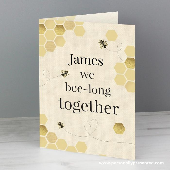 Personalised We Bee-Long Together Card - Personalised Gift From Personally Presented