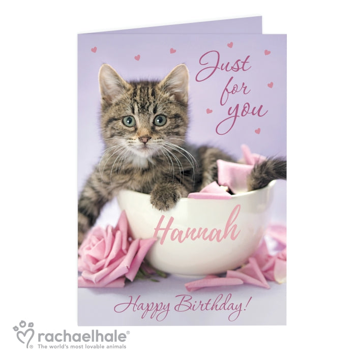 Personalised Rachael Hale 'Just for You' Kitten Card