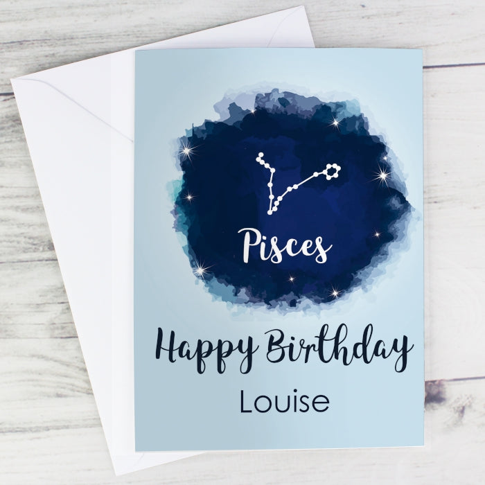Personalised Pisces Zodiac Star Sign Card (February 19th - March 20th) - Personalised Gift From Personally Presented