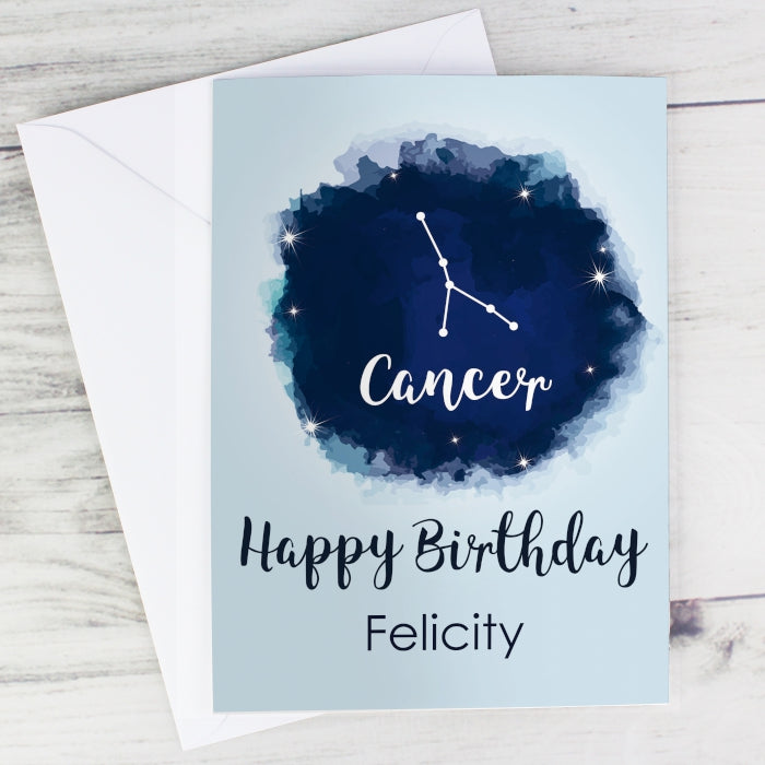 Personalised Cancer Zodiac Star Sign Card 21st June