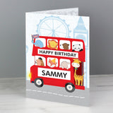Personalised London Animal Bus Card - Personalised Gift From Personally Presented