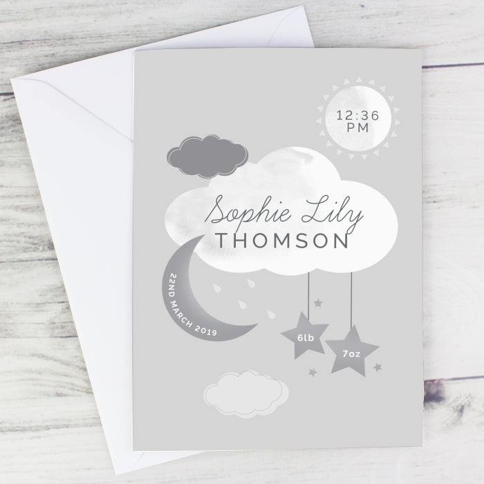 Personalised New Baby Moon & Stars Card - Personalised Gift From Personally Presented