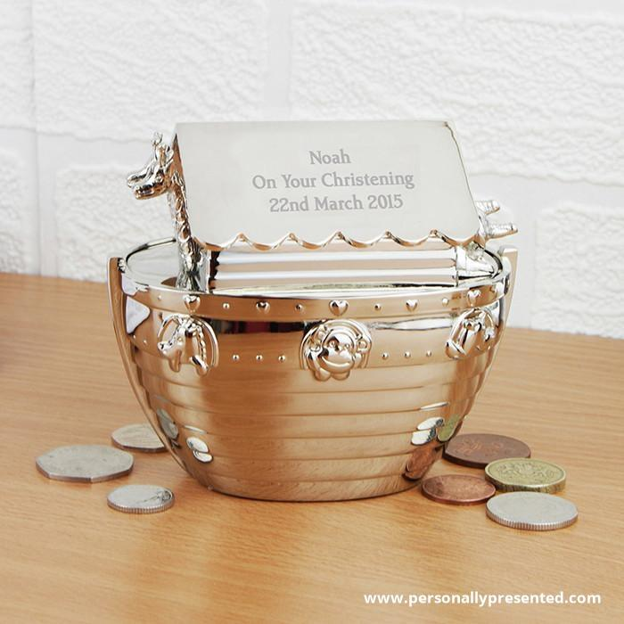 Personalised Silver Noahs Ark Money Box - Personalised Gift From Personally Presented