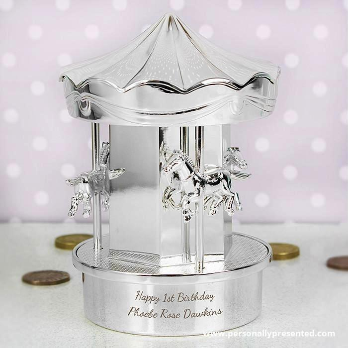 Personalised Carousel Money Box - Personalised Gift From Personally Presented