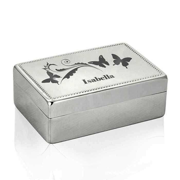 Personalised Butterfly Swirl Rectangular Jewellery Box - Personalised Gift From Personally Presented