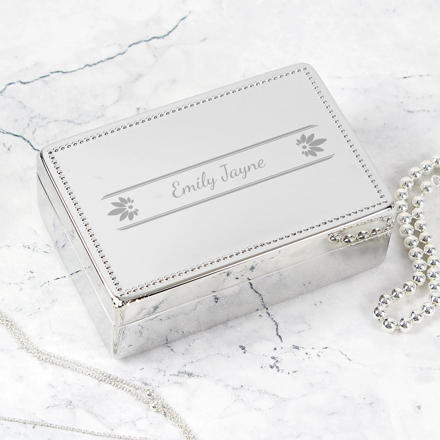 Personalised Petals Rectangular Jewellery Box - Personalised Gift From Personally Presented