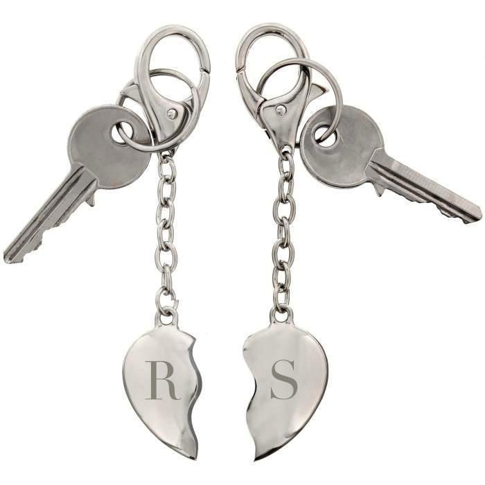 Personalised Initials Two Hearts Keyring - Personalised Gift From Personally Presented