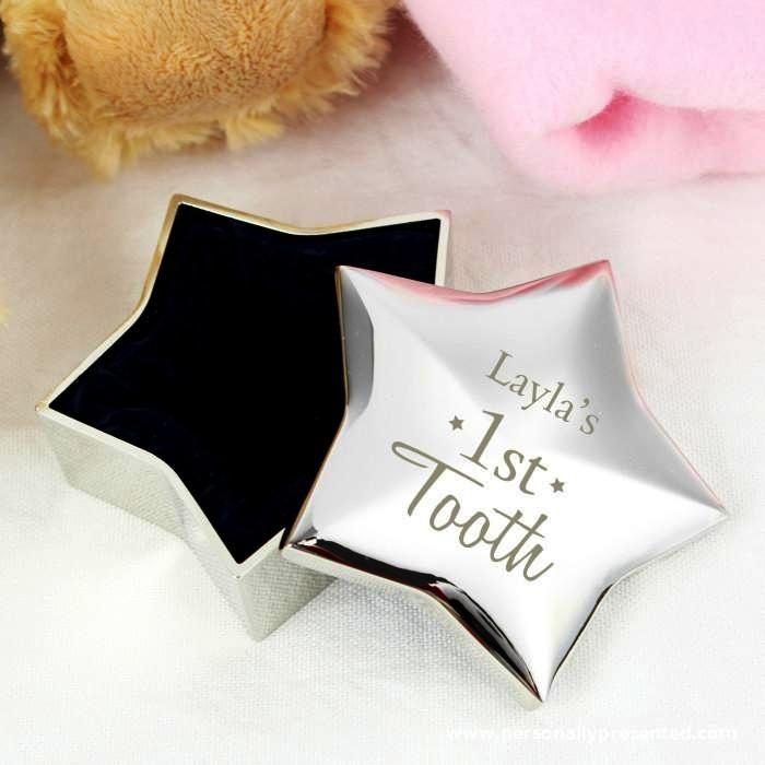 Personalised 1st Tooth Star Trinket Box - Personalised Gift From Personally Presented