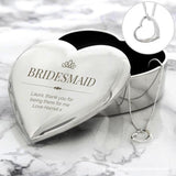 Personalised Elegant Crown Heart Trinket Box & Necklace Set - Personalised Gift From Personally Presented