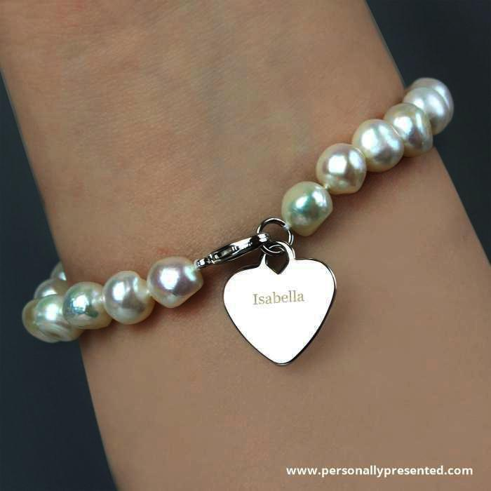Personalised White Freshwater Pearl Name Bracelet - Personalised Gift From Personally Presented