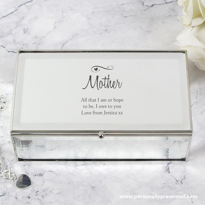 Personalised Swirls & Hearts Mirrored Jewellery Box - Personalised Gift From Personally Presented