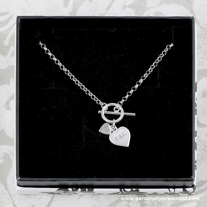 Personalised Hearts T-Bar Necklace - Personalised Gift From Personally Presented