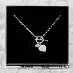 Personalised Hearts T-Bar Necklace