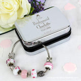 Personalised Decorative Wedding Bridesmaid Silver Box and Candy Pink 18cm Charm Bracelet - Personalised Gift From Personally Presented