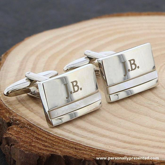 Personalised Mother of Pearl Cufflinks - Personalised Gift From Personally Presented