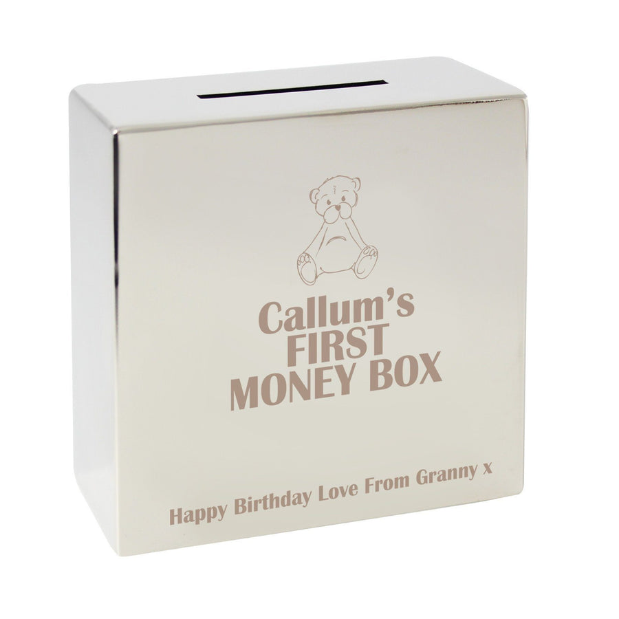 Personalised Teddy Square Money Box - Personalised Gift From Personally Presented