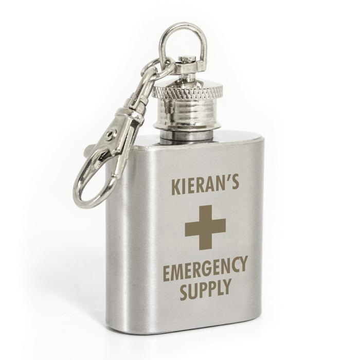 Personalised Emergency Supply 1oz Stainless Steel Hip Flask Keyring - Personalised Gift From Personally Presented