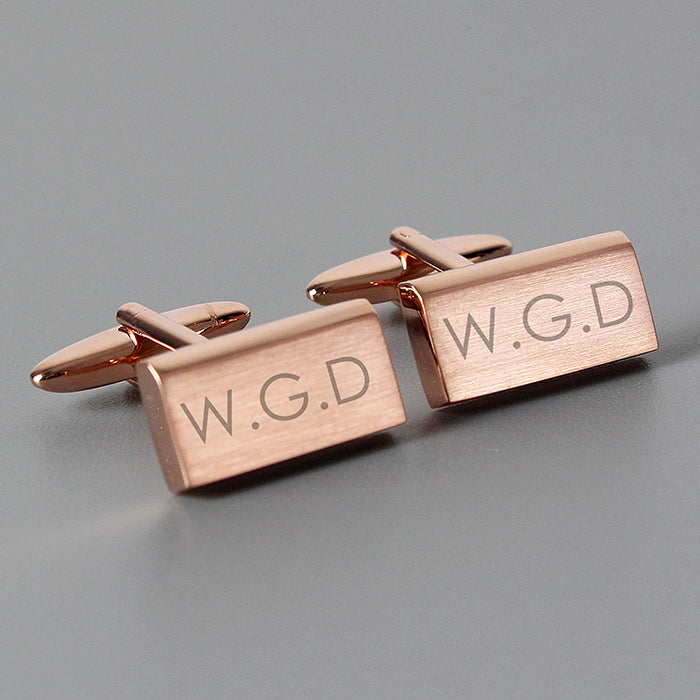 Personalised Modern Rose Gold Plated Cufflinks - Personalised Gift From Personally Presented