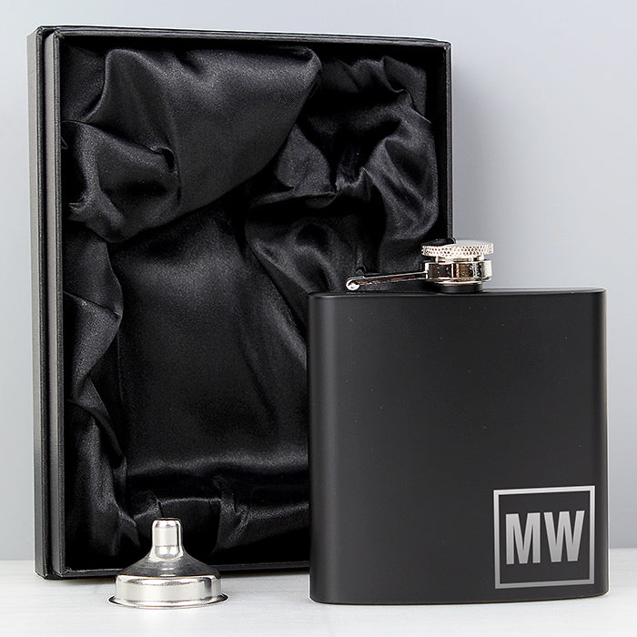 Personalised Initials Black Hip Flask - Personalised Gift From Personally Presented